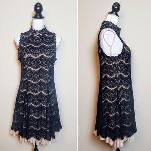 WINDSOR Cocktail Dress Black Tan Lace Sleeveless L